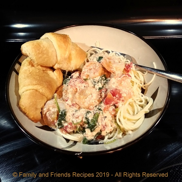 Tipsy Shrimp with Angel Hair Pasta